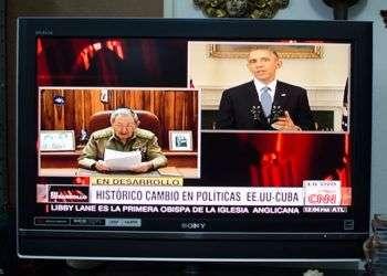 Raúl Castro y Barack Obama anuncian el inicio del restablecimiento de las relaciones diplomáticas entre Cuba y los Estados Unidos / Foto: Alain L. Gutiérrez.