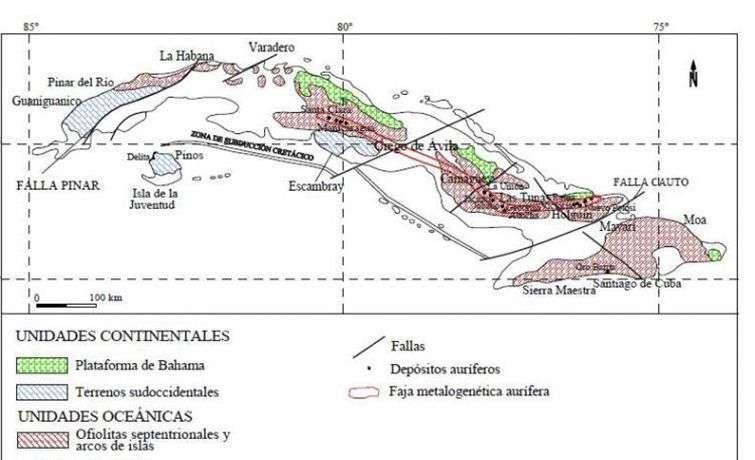 Cuba posee una extensa faja aurífera, que se extiende desde la provincia de Villa Clara hasta Holguín. Mapa elaborado con datos del Instituto de Investigaciones Minero Metalúrgicas.