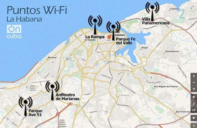 Aquí estarán ubicados los primeros 5 puntos de acceso público por wifi a internet en La Habana