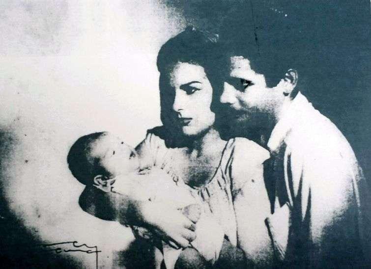 Con su esposa cubana Eugenia Pérez y el hijo de ambos, Danielito, que nació en 1948
