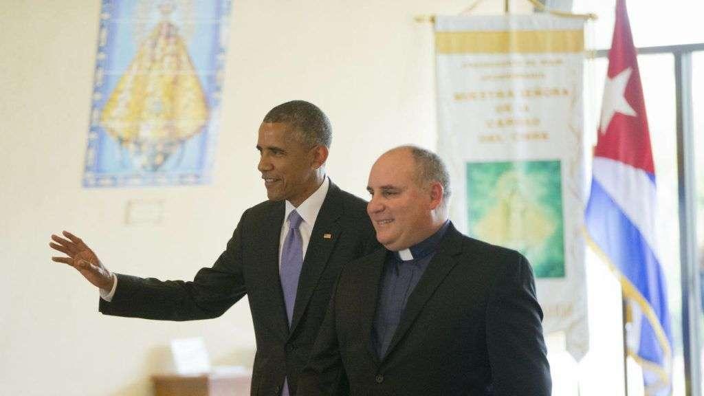 Obama en la Ermita de la Caridad. Foto: Orlando Sentinel