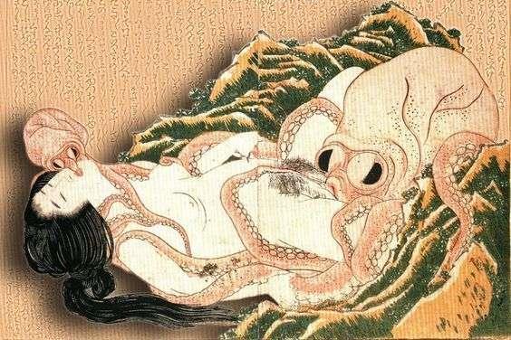 """""""El sueño de la mujer del pescador"""", de Katsushika Hokusai, uno de los ejemplos más emblemáticos del shunga japonés que influenció luego en el anime hentai."""