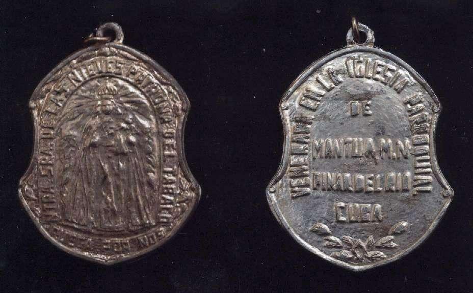 Medallas dedicadas a la Virgen de las Nieves, mediados del siglo XX.