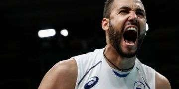 Osmany Juantorena #5 of Italy celebrates a point during the men's qualifying volleyball match between the United States and Italy on Day 4 of the Rio 2016 Olympic Games at the Maracanazinho on August 9, 2016 in Rio de Janeiro, Brazil. (Aug. 8, 2016 - Source: Buda Mendes/Getty Images South America)