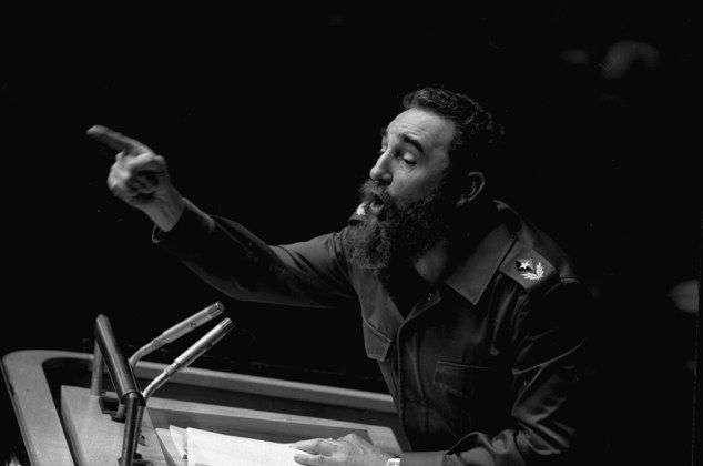 Durante su discurso ante la Asamblea General de Naciones Unidas el 12 de octubre de 1979. Foto: Marty Lederhandler / AP.