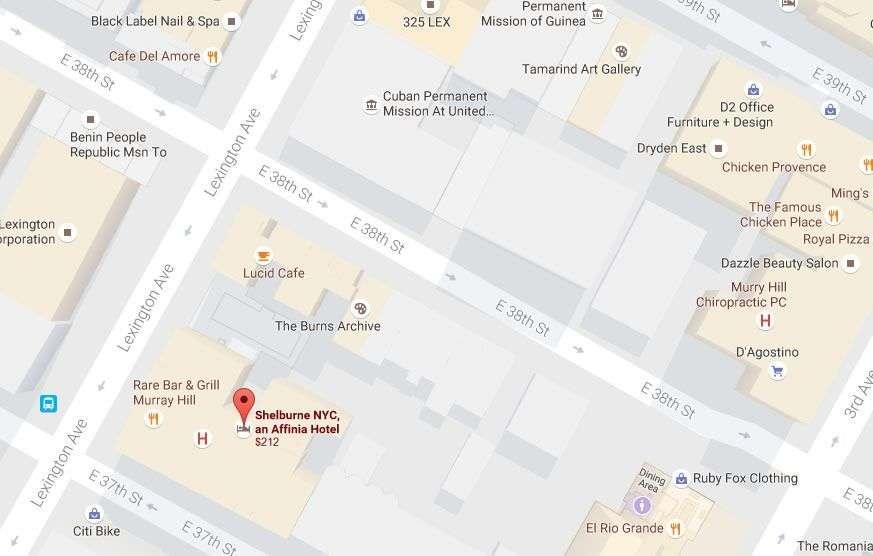 Ubicado en 303 Lexington Ave, muy cerca de la sede actual de la Misión Cubana en Naciones Unidas, el Hotel Shelburne fue el primer lugar donde se hospedaron los cubanos durante este viaje en 1960. Fuente: Google Map