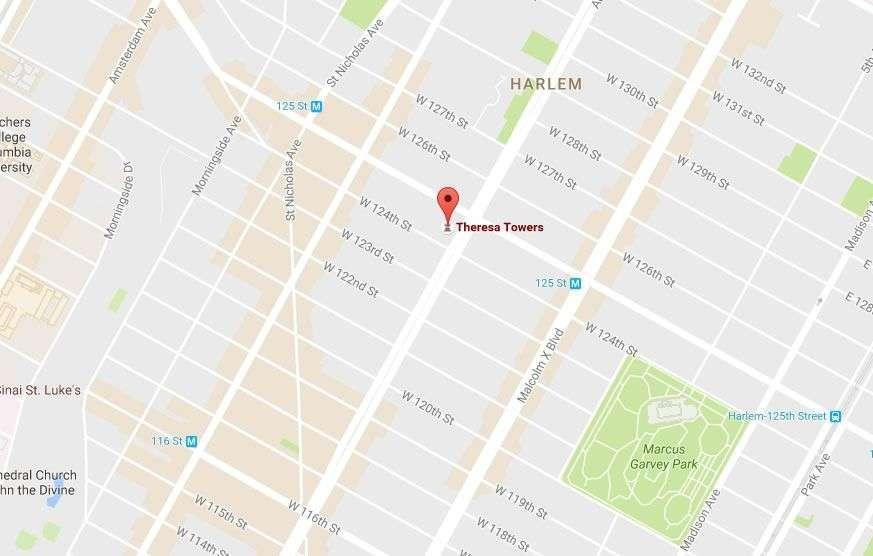 En el número 2090 del Adam Clayton Powell Jr Blvd, el Hotel Theresa dio alojamiento a Fidel Castro y sus compañeros. Fuente: Google Map.