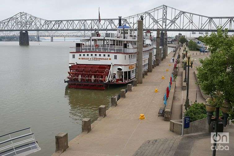 The city of Louisville is located along the Ohio River, just south of Indiana