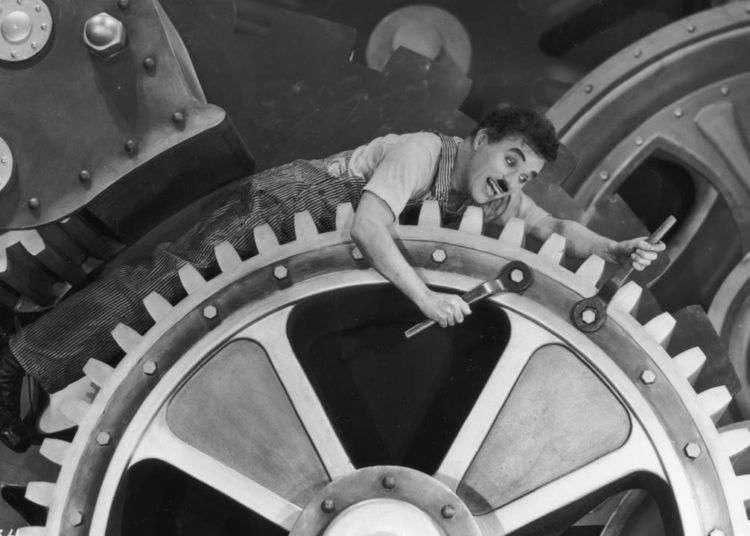 "Charles Chaplin, ""Tiempos modernos""."