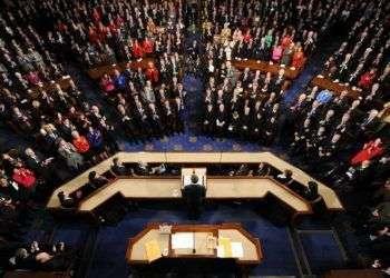 Barack Obama da discurso anual del Estado de la Unión ante una sesión conjunta del Congreso y la Corte Suprema en enero de 2016.