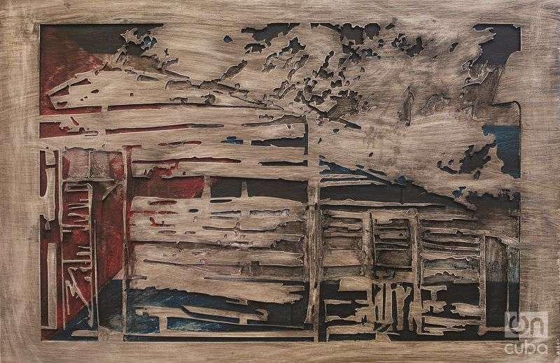 """""""Con los pobres de la tierra"""", 2016. Mixta sobre PVC. 122 x 87 cm. Photo: Alain L. Gutiérrez."""
