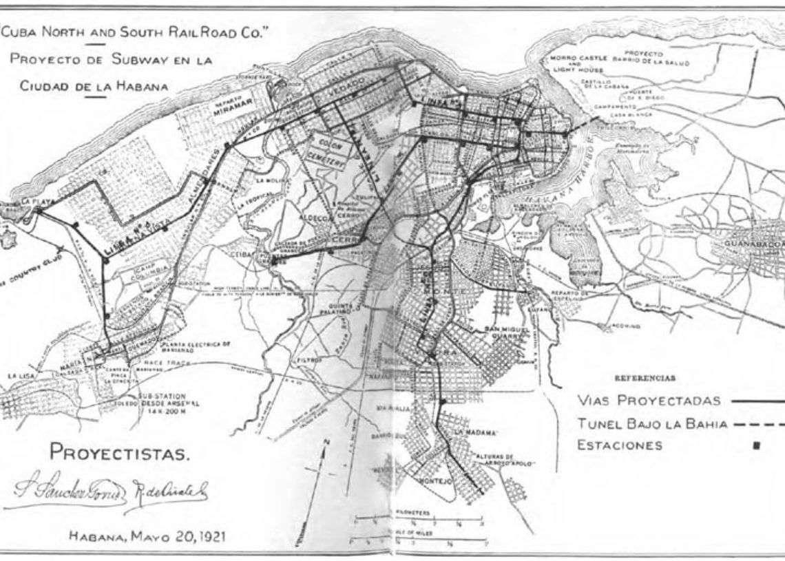 Mapa del proyecto de metro. Primera mitad del siglo XX.