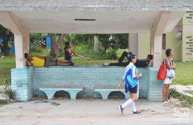 Parada de ómnibus en Santa María del Rosario. Cotorro, La Habana. Foto: Otmaro Rodríguez.