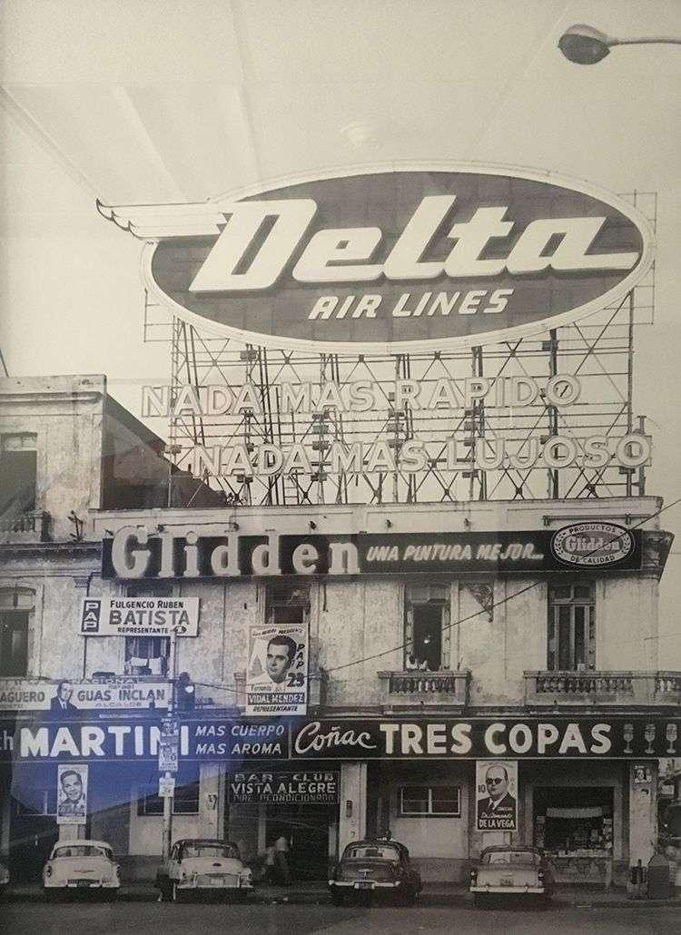 A neon sign Delta had in 1958 on Havana's Malecón seaside drive.