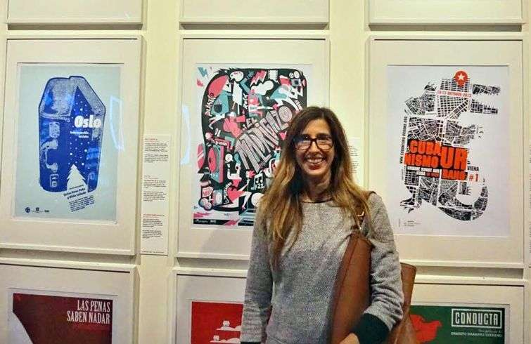Michelle Miyares in the exhibition's poster section. Photo courtesy of the artist.