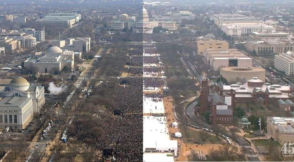 Comparación del Inauguration Day de Obama (izquierda) y Trump (derecha). Foto: Javier Zarracina