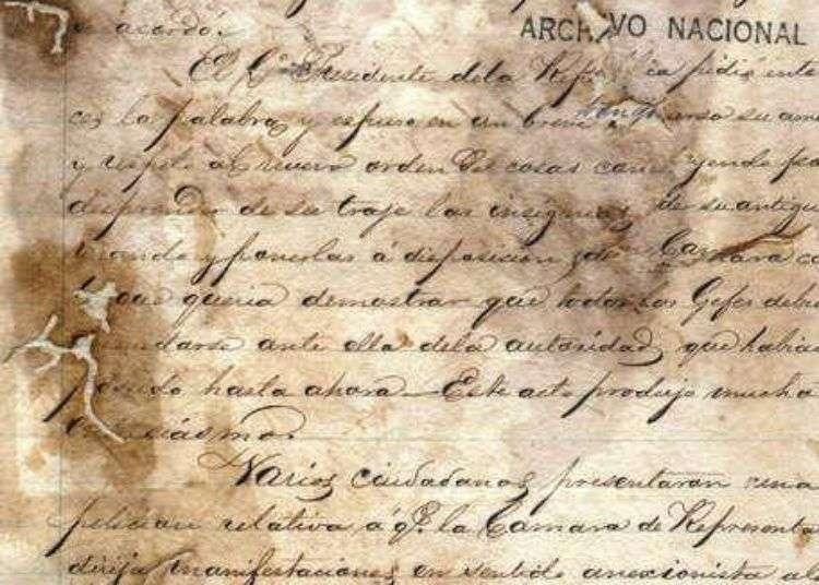 Copia del acta original. Cámara Constituyente. Guáimaro, 11 de abril de 1869. Fuente: Archivo Nacional.