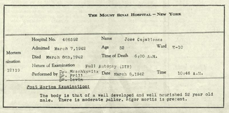 The Mount Sinai Hospital report of Capablanca's death. Photo: chesshistory.com