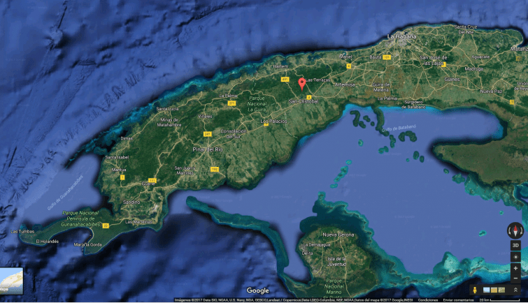 Location of the Loma de la Pimienta, the estimated place of the Cuban plane's accident. Image: Google Maps.