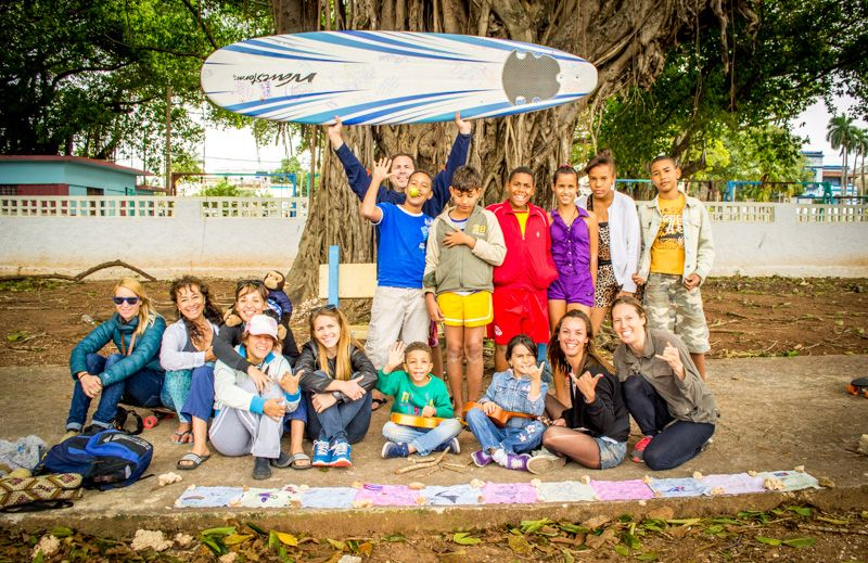 Wahine Project meeting with girl surfers on the beach on 70th Street in September 2016. Photo: OlaPiCreative.