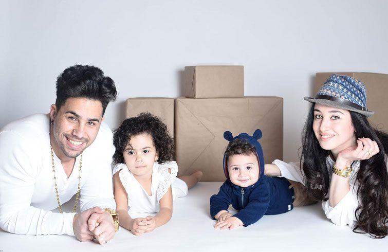 Yasniel, junto a su esposa e hijos en Osetia. Foto: cortesía del entrevistado.
