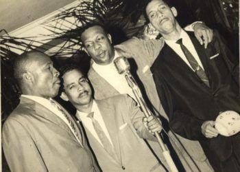 Miguelito Cuní, Pío Leyva, Bebo Valdés y alguien sin identificar.