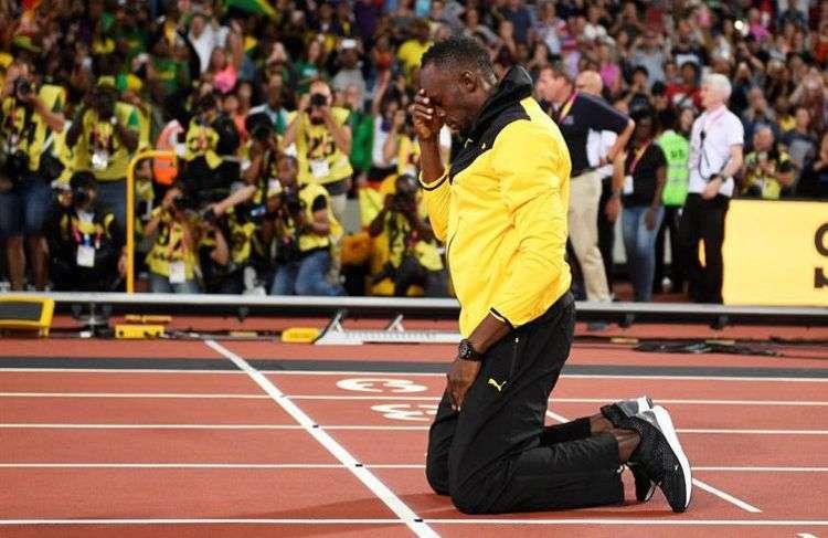 """El """"relámpago"""" Bolt se despidió en Londres de las pistas. Foto: Franck Robichon / EFE:"""