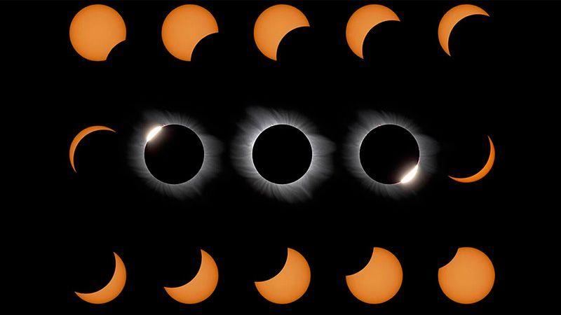 Evolución de un eclipse solar.