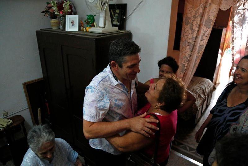 Richard Blanco, on a previous trip, with his family in Cuba. Photo: Desmond Boylan / AP.