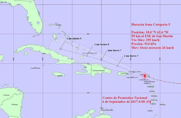 Cono de trayectoria del huracán Irma. Fuente: Instituto de Meteorología de Cuba.