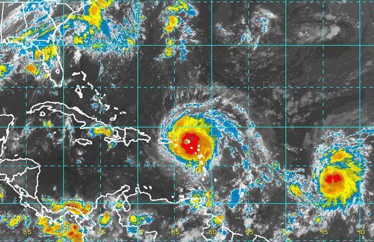 Irma en el Caribe. Detrás, la tormenta tropical José. Fuente: Instituto de Meteorología de Cuba.