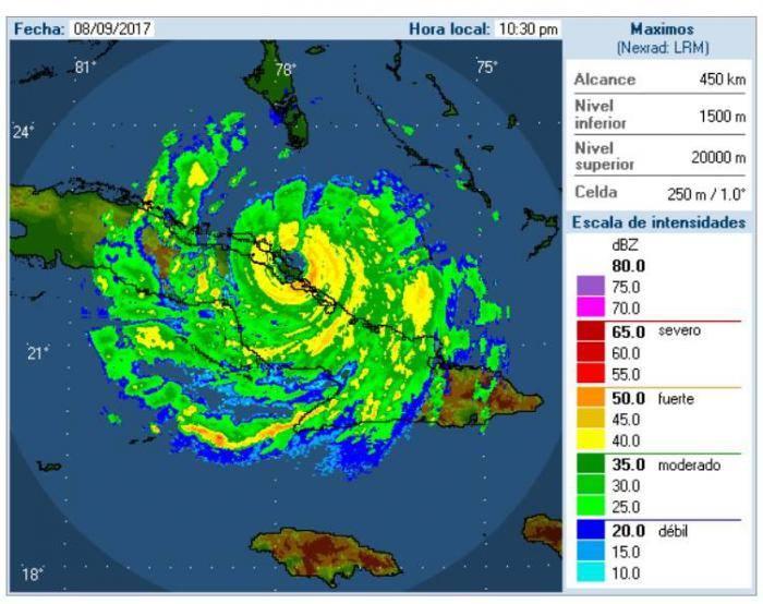 Imagen de Irma en el radar de Camagüey a las 11:00 de la noche. Fuente: Ismet.