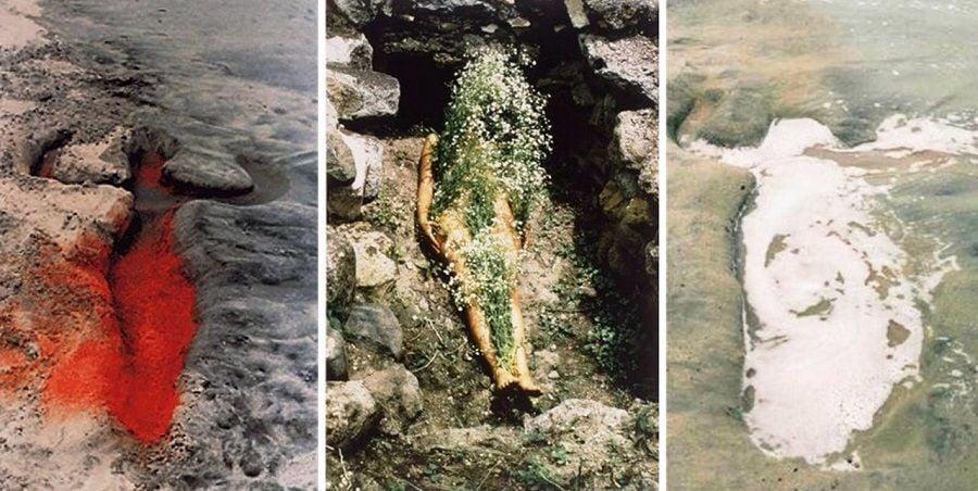 1: Sin título: Serie Silueta, México, 1976 / 2: Sin título: Serie Silueta, México, 1973 Fotografía a color. / 3: Sin título: Serie Silueta, 1976. Créditos: © The Estate of Ana Mendieta Collection, LLC Courtesy Galerie Lelong & Co.