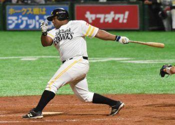 Alfredo Despaigne con la camiseta de los Halcones de SoftBank . Foto: Yuhki Ohboshi.