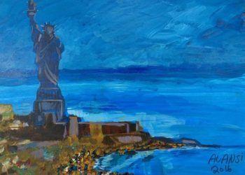 Reproducción de la pintura hecha por el recluso del penal de Guantánamo, Muhammad Ansi, cedida por el John Jay College of Criminal Justice. Foto: John Jay College of Criminal Justice / Efe.