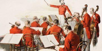 El director de bailes de salón Johann Strauss hijo con su orquesta, pintura de Theo Zasche.