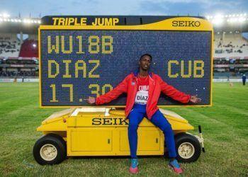 El triplista cubano Jordan Díaz estampó un récord mundial en la categoría de cadetes. Foto: Kurt Duncan.