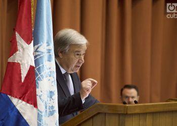 Antonio Guterres, Secretario General de la ONU, habla en la apertura del XXXVII Período de Sesiones de la Cepal en el Palacio de las Convenciones de La Habana, en 2018. Foto: Otmaro Rodríguez / Archivo.