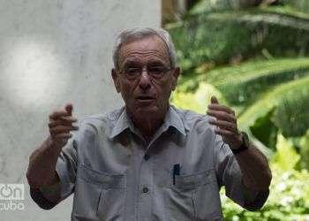 El Dr. Eusebio Leal habla durante la presentación de la campaña de comunicación por el aniversario 500 de La Habana. Foto: Otmaro Rodríguez.