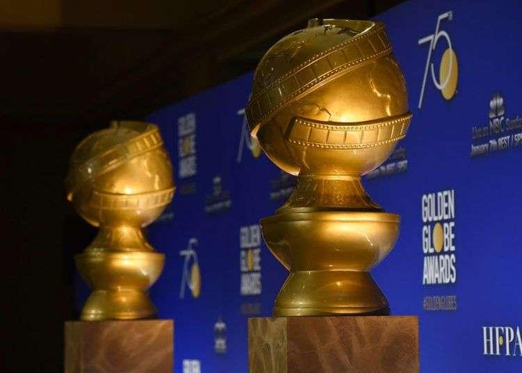 Estatuas de los Globos de Oro en el escenario previo a las nominaciones de la 75ª edición de los Globos de Oro en el Hotel Beverly Hilton en Beverly Hills, California, diciembre de 2017. Foto: Chris Pizzello / Invision / AP.