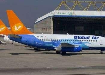 Avión de Aerolíneas Damojh, también registrada como Global Air.