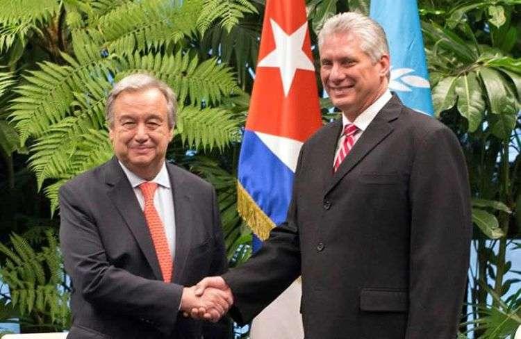 El presidente de Cuba, Miguel Díaz-Canel y el Secretario general de la ONU, Antonio Guterres Foto: EFE/Desmond Boylan/POOL.