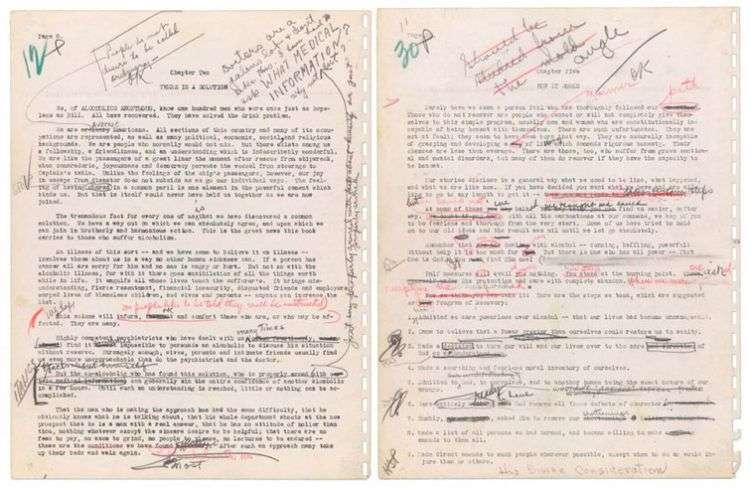 Imagen dada a conocer por la casa de subastas Profiles in History que muestra dos páginas del manuscrito original de Alcohólicos Anónimos. Foto: Profiles in History vía AP.