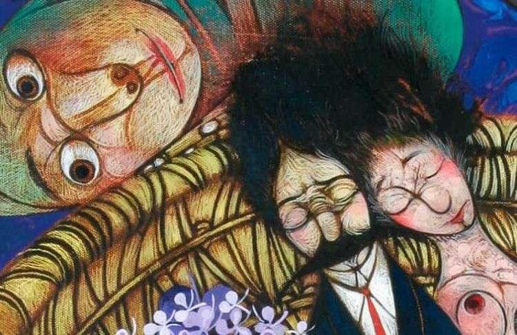 """Fragmento de """"El padrino"""" de la serio Sillones de Mimbre del pintor Pedro Pablo Oliva (2006)."""