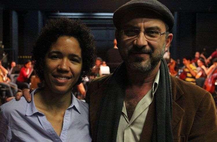 La violista cubana Winnie Camila Berg junto al compositor costarricense Carlos Castro. Foto: Cortesía de Winnie Camila Berg.