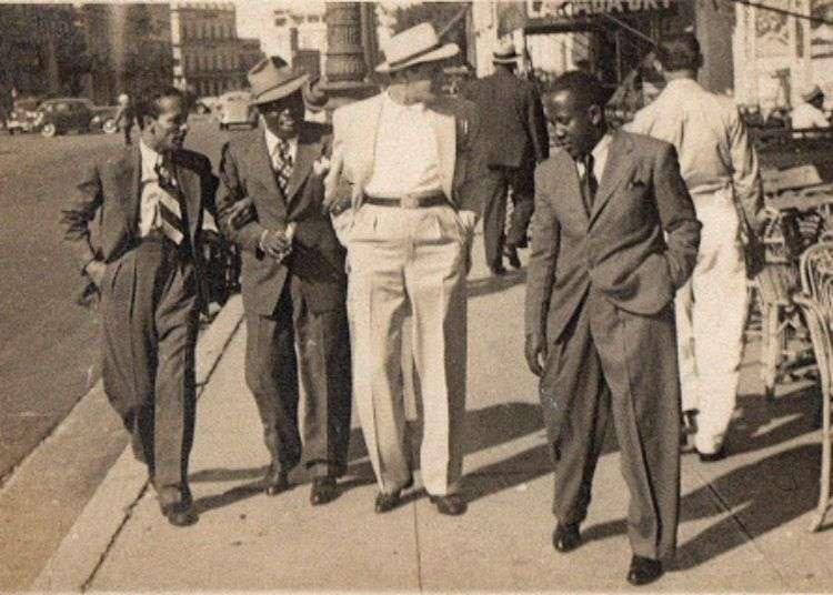 """De izquierda a derecha Orlando Guerra """" Cascarita"""", Bola de Nieve, Miguelito Valdes, y Facundo Rivero. La Habana, 1940s."""