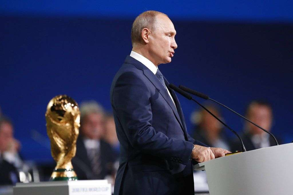 Vladimir Putin speaking during the FIFA congress, Wednesday June 13, 2018, just before the inauguration of the World Championship in Moscow. Photo: Pavel Golovkin / AP.