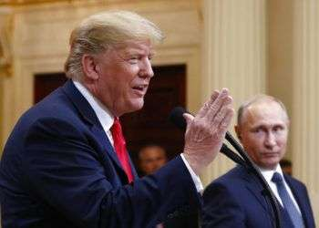 Donald Trump durante una conferencia de prensa con su homólogo ruso Vladimir Putin en el Palacio Presidencial de Helsinki, el lunes 16 de julio de 2018. Foto: Pablo Martínez Monsivais / AP / Archivo.