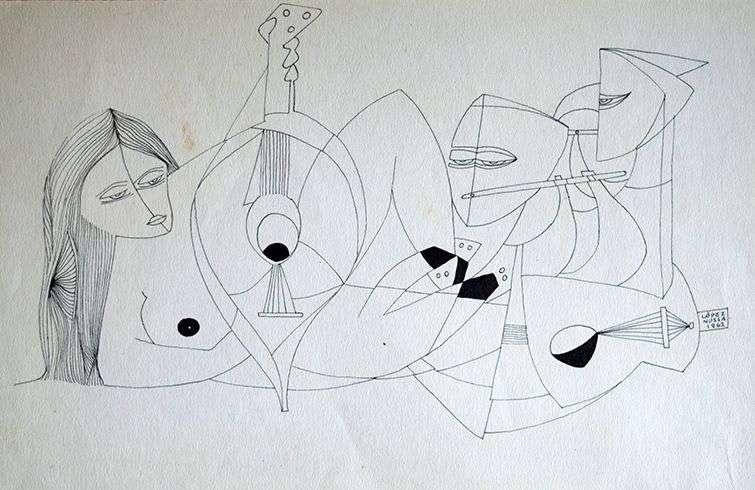 S/T. Dibujo (18,5 x 29 cm) de Leonel López-Nussa de 1962.