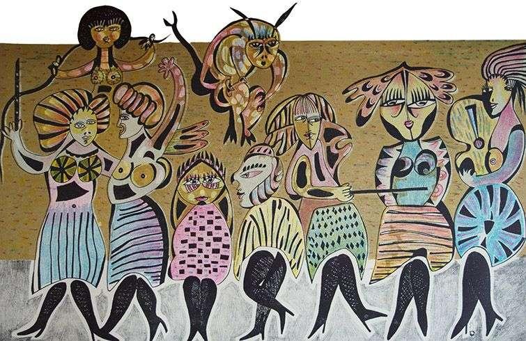"""Obra de la serie """"Orquestas de mujeres"""". Litografía (43 x 66 cm), de Leonel López-Nussa, de 1982."""